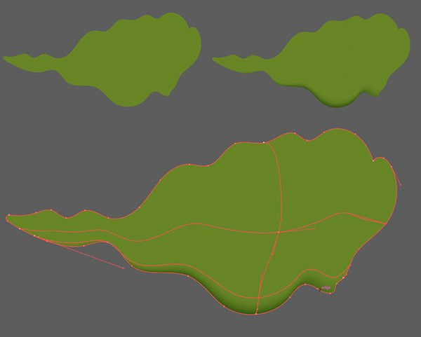 Draw a wiggley leaf and render it