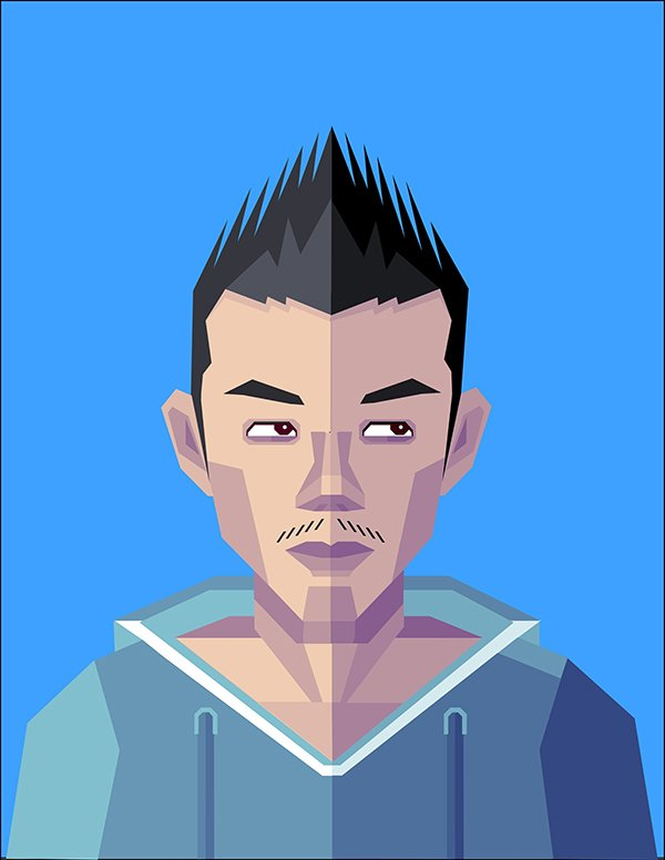 Daniel Gao commented with his own geometric self-portrait based on the tutorial by Beto Garza