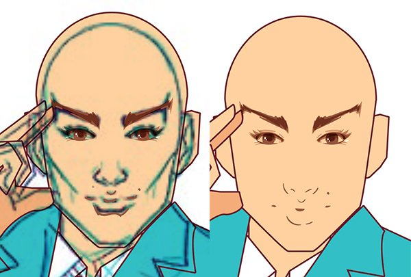 Trace your face with a drawing tool