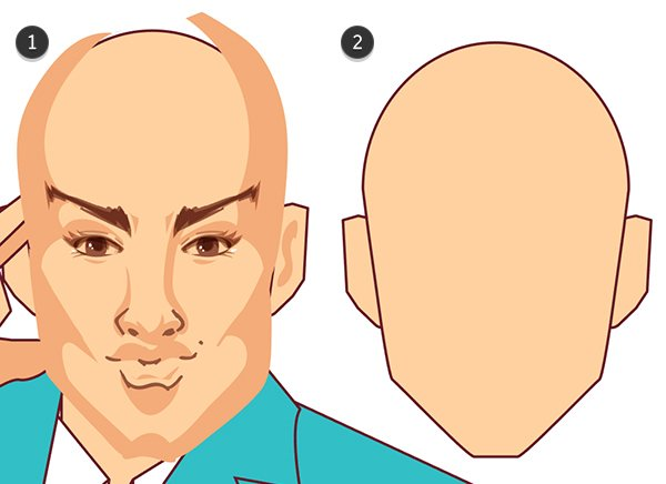 Start drawing shadow shapes on the head