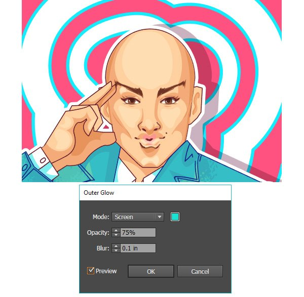 Apply an outer glow effect to the wiggly lines