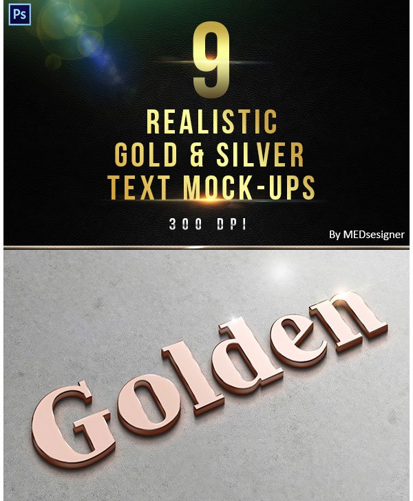 9 3D Realistic Gold Silver Text Mock-ups
