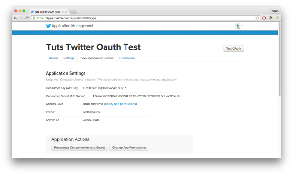 OAuth Test Homepage