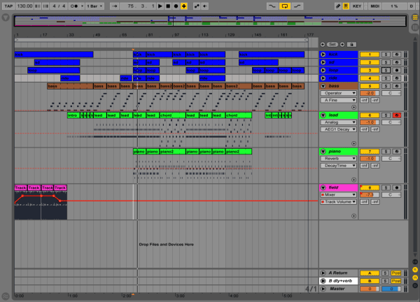 Ableton Suite screenshot of the project