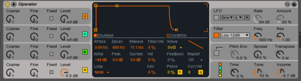 Operator patch for the bassline