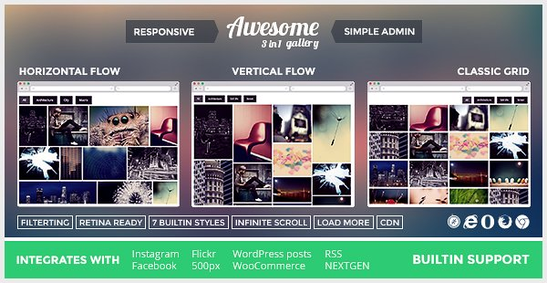 Awesome Gallery - Instagram Flickr Facebook Galleries on Your Site