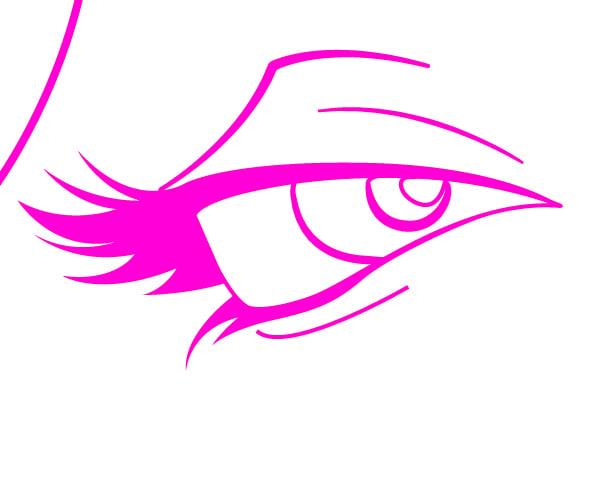 Eye with Filled in Eyelashes