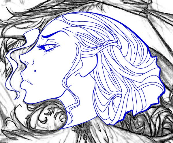 Adding Detail to the Hair Line work 2