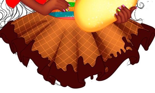 Adding Chocolate to Skirt 1