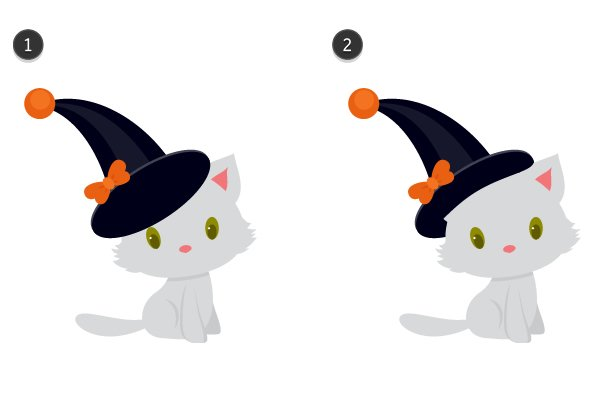 putting the witch hat on the kitten