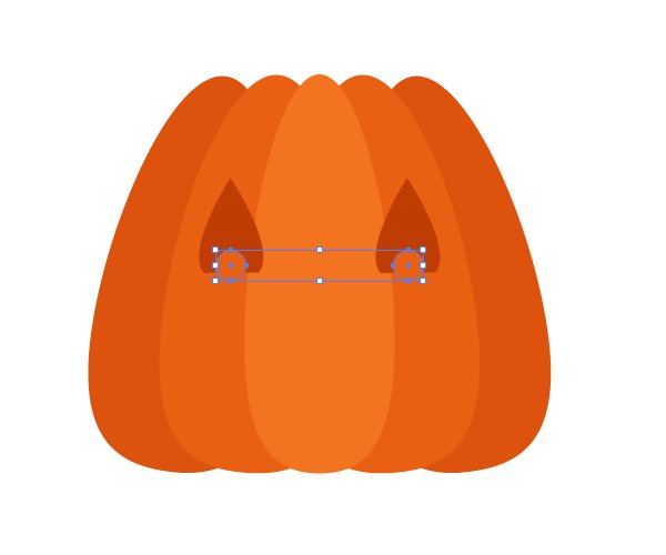 placing the eyes of the pumpkin