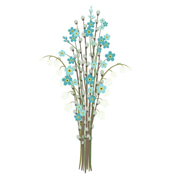 placing forget-me-nots in the bouquet