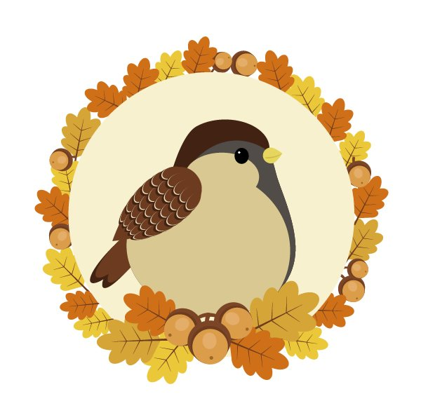 adding leaves and acorns to the background