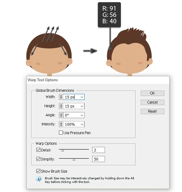 creating the hairstyle 1