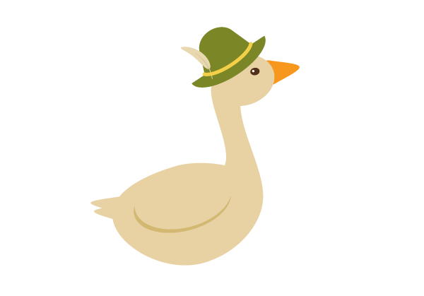 placing the hat on the goose