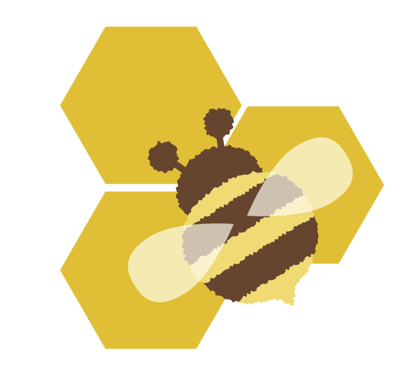 placing the bee on the honey cells