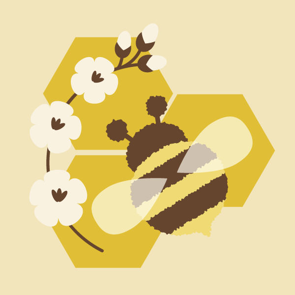 placing flowers and bee on the background