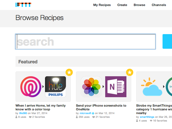 IFTTT recommended recipes