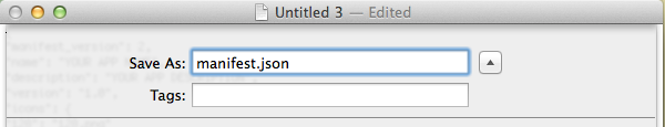 Save the file as manifestjson