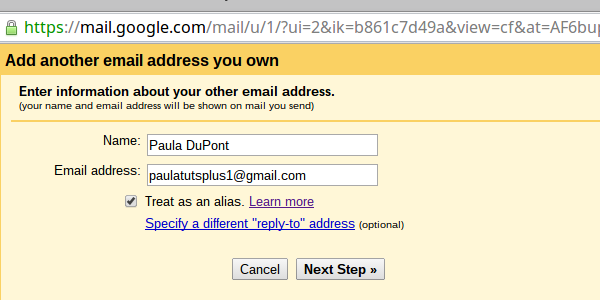 Enter the email address youd like to send mail as