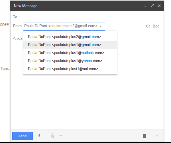 Select the address from which you would like to send email