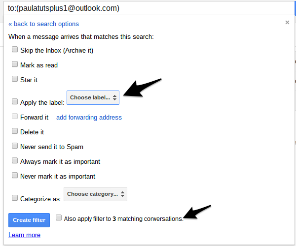 Apply a label to messages matching the search