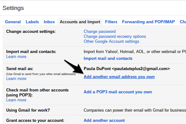 Gmail allows you to send email as another account