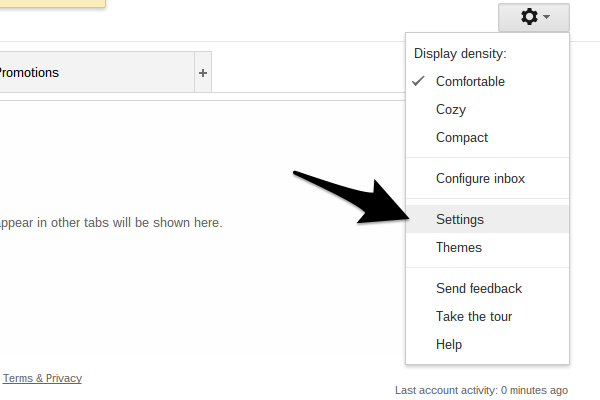 Locate Gmails settings