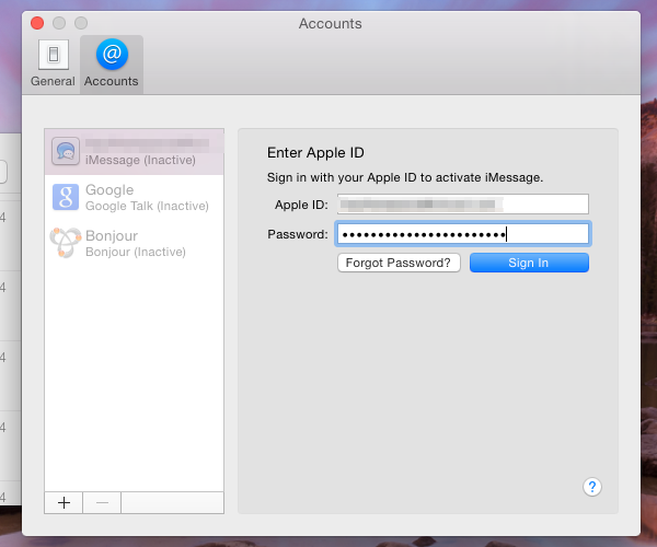 Log in with your Apple ID
