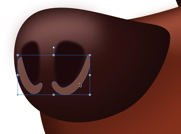 create two shapes fill with a light brown colour