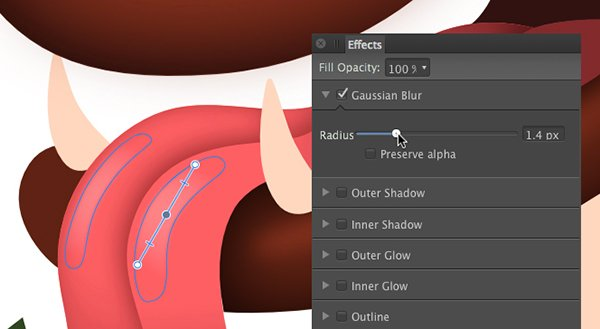 apply a 14 pixel gaussian blur and a transparency gradient