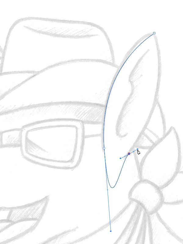 placing the third node to form the bottom of the ear shape