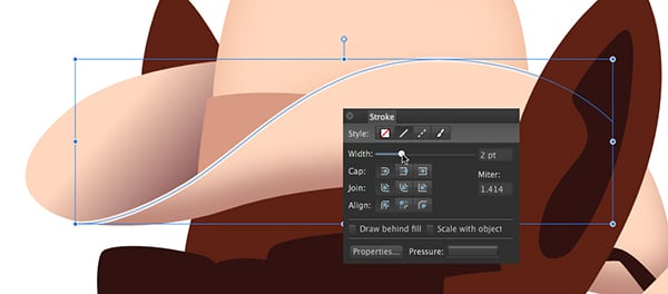 adjusting the width of the path of the hat brim highlight