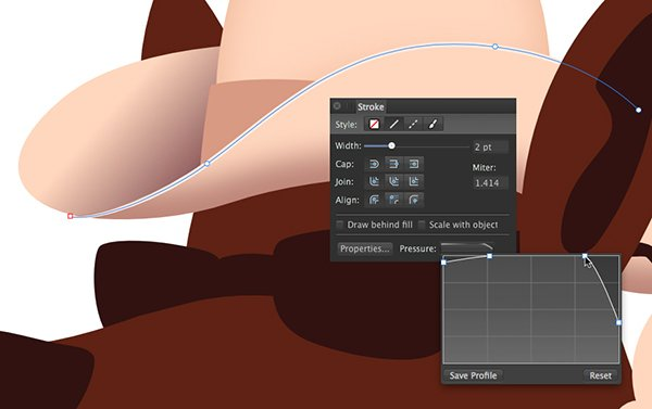 adjusting the pressure setting of the path of the hat brim highlight