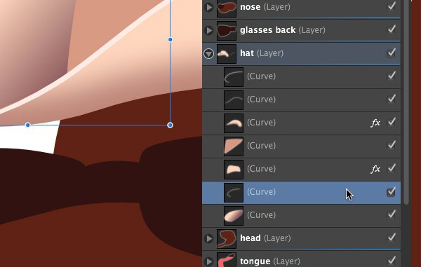 moving the second hat brim highlight layer underneath the main hat layer