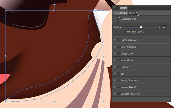 adjust the opacity and apply a gaussian blur