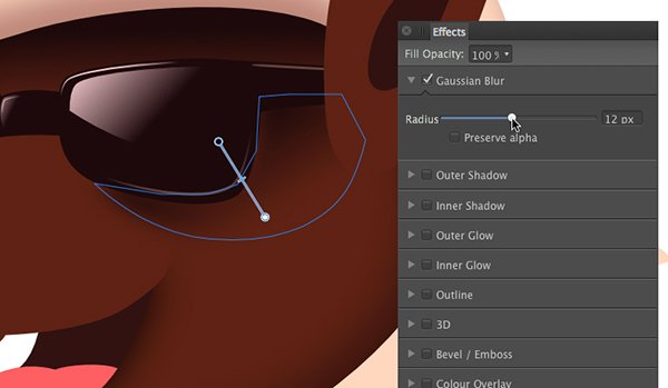 use the transparency tool y to soften the hard edge