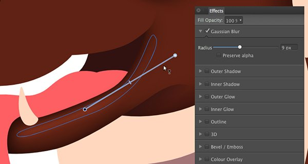 add a 9 pixel gaussian blur to the shape and apply the transparency tool y