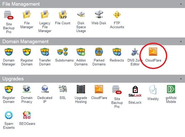 Finding CloudFlare in cPanel