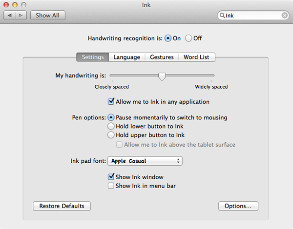 Enabling Handwriting Recognition in System Preferences