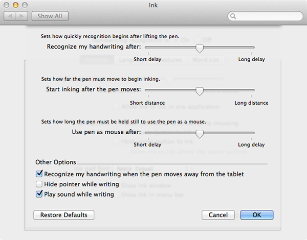 Advanced Options for Ink in System Preferences