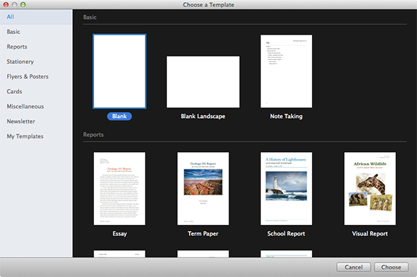 Creating a New Document in Pages