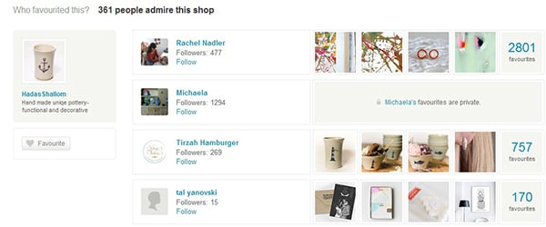Etsy Users Can Favourite or Admire Your Shop