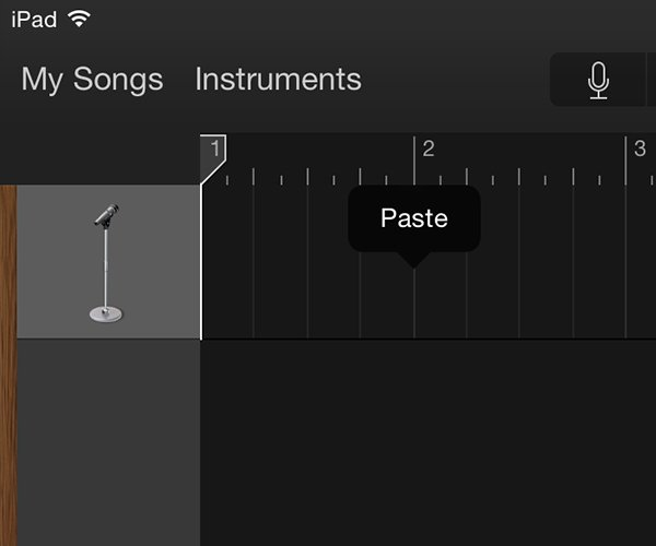 AudioCopy and AudioPaste work slightly different app to app In Garageband you simply tap and select Paste