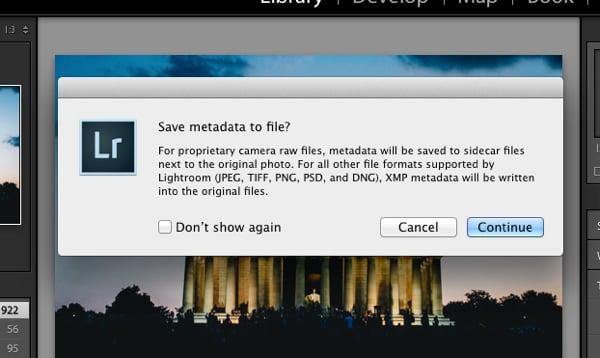 dialogue to manually save metadata file