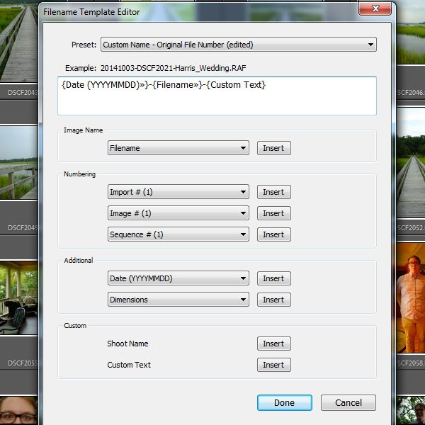 Lightroom filename template editor
