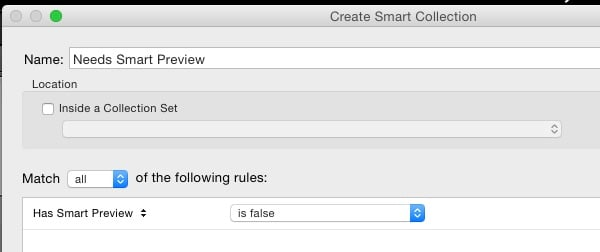 Smart Collection rules dialog