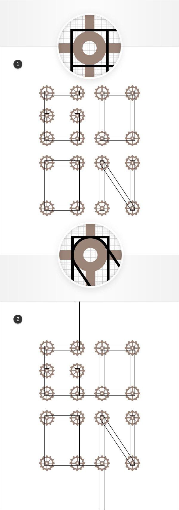 black stroke rectangles