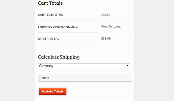 Calculate Shipping page on front end