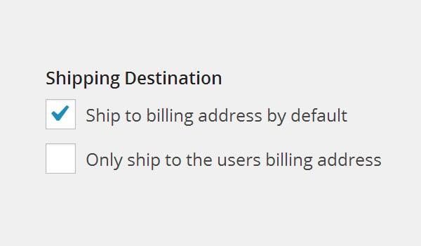 Shipping Destination options